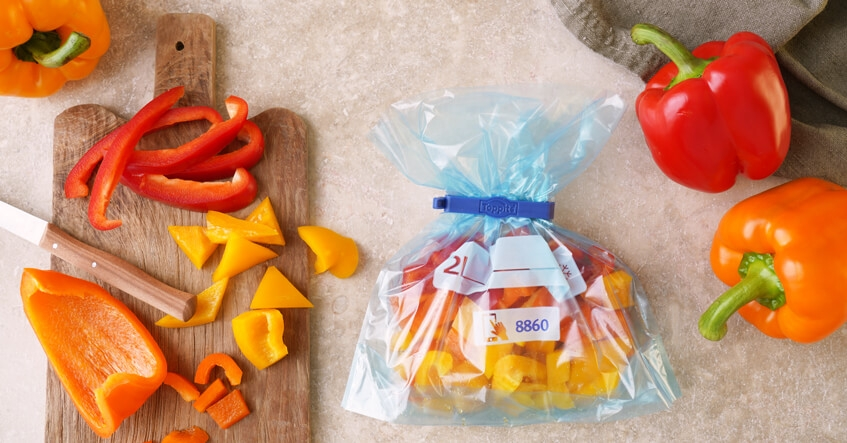 Frysa ner och förvara paprika i safelocpåsar från Toppits