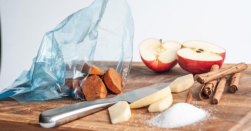 Marinerade äpplen i kanel i Toppits fryspåse